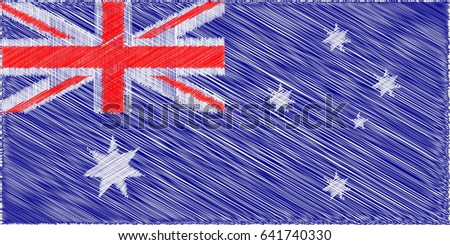 Australian flag.  Pencil drawing vector illustration. Using for decoration works.