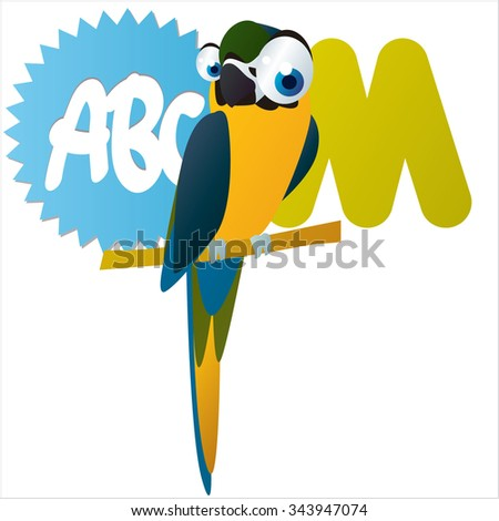 Australian funny cute animals cartoons alphabet: M is for Macaw - stock vector