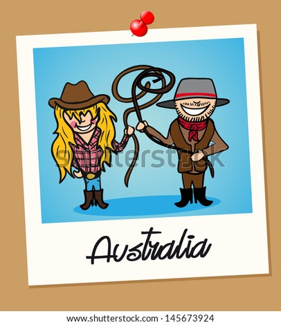 Australian man and woman cartoon couple in vintage instant photo frame. Vector illustration layered for easy editing. - stock vector