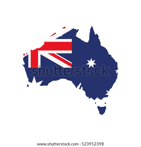 Australian map and flag. Flat illustration.
