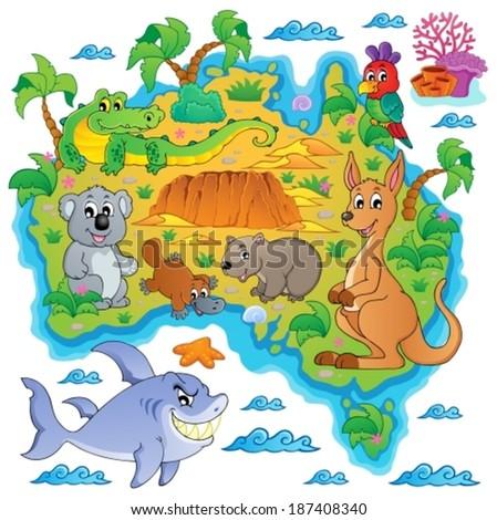Australian map theme image 3 - eps10 vector illustration. - stock vector