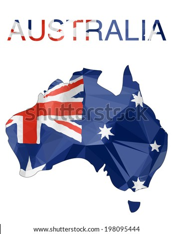 Australian Map with flag colors - Polygonal shapes. - stock vector