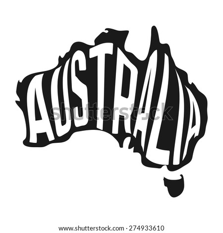 Australian map with text inside on white background. Vector illustration - stock vector