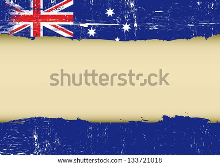 Australian scratched flag. An australian flag with a large frame for your message - stock vector
