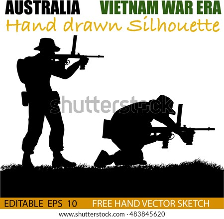 Australian soldier silhouettes from the Vietnam war era.