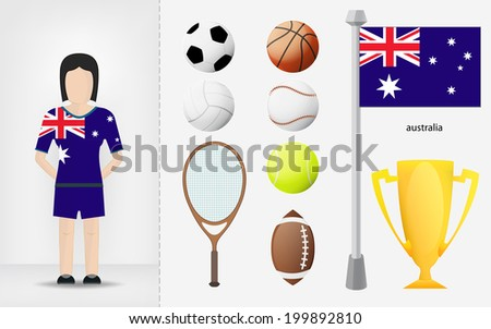 Australian sportswoman with sport equipment collection vector illustration - stock vector