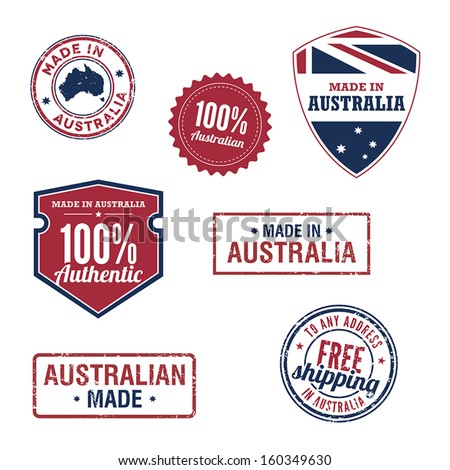 Australian stamps and badges - stock vector