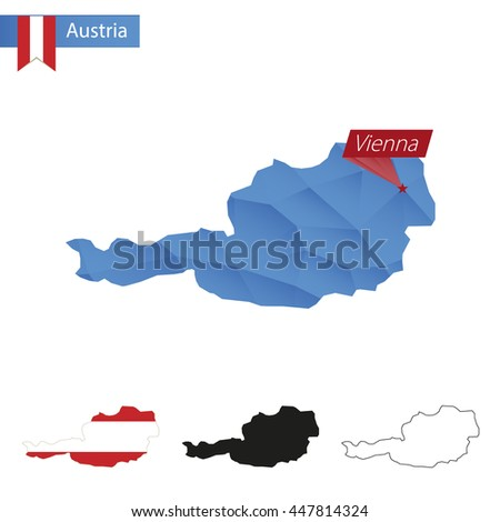 Austria blue Low Poly map with capital Vienna, versions with flag, black and outline. Vector Illustration. - stock vector
