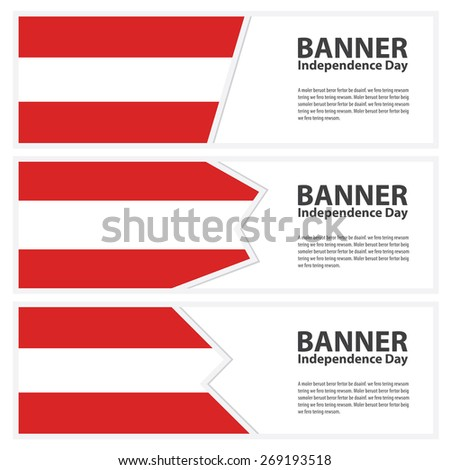 austria Flag banners collection independence day template backgrounds, infographic - stock vector