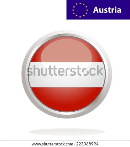Austria flag button - stock vector