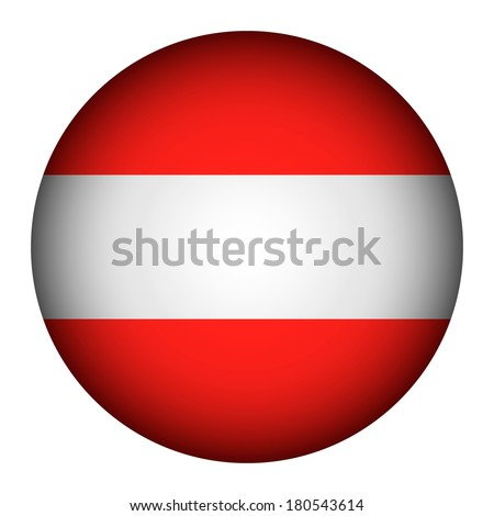 Austria flag button on a white background. Vector illustration.