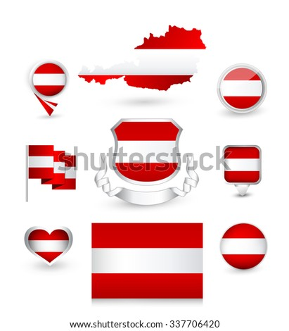 Austria Flag Collection. Vector icon set.