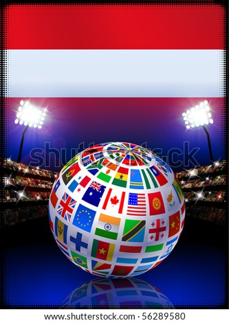 Austria Flag Globe on Stadium Background Original Illustration