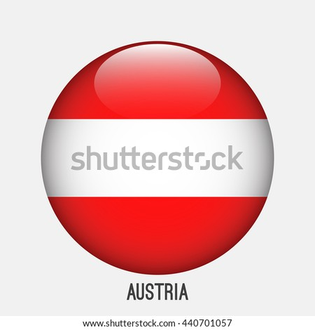 Austria flag in circle shape. Transparent,glossy,glass button