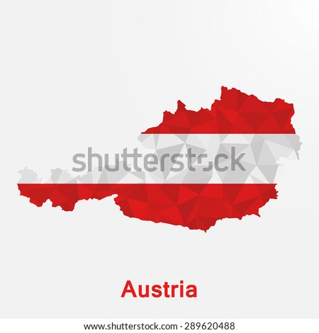Austria flag map in geometric polygonal style.Abstract tessellation,background. Vector illustration EPS10 - stock vector