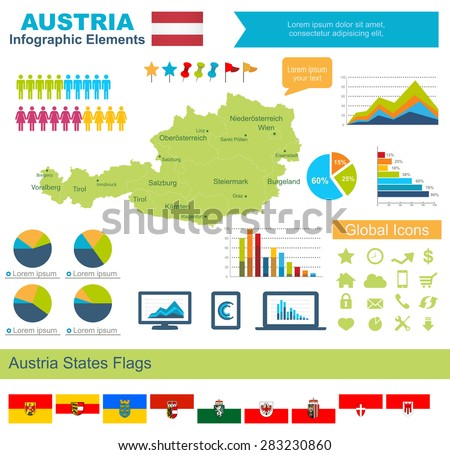 Austria Infographic Elements  Include:High detailed map of Austria and complete provincial flags - stock vector
