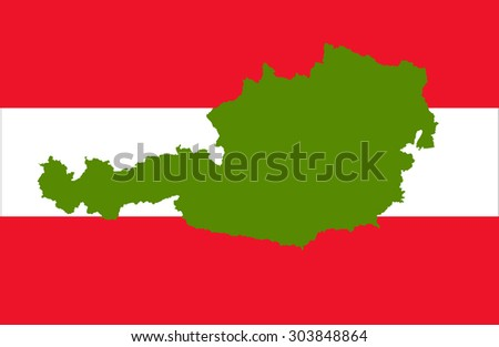 Austria map on a flag background - stock vector