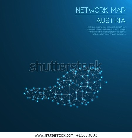 Austria network map. Abstract polygonal Austria network map design with glowing dots and lines. Map of Austria networks. Vector illustration.