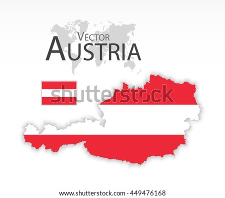 Austria ( Republic of Austria ) ( flag and map ) ( transportation and tourism concept ) - stock vector