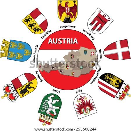 austria shields - vector - eps 10 - stock vector