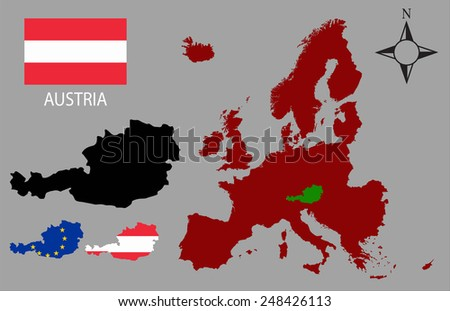 Austria - Three contours, Map of Europe and flag vector