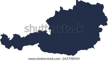 Austria Vector map. High detailed.  - stock vector
