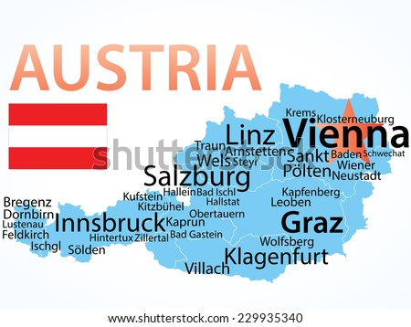 Austria - vector map with largest cities, text scaled by city population, geographically correct. - stock vector