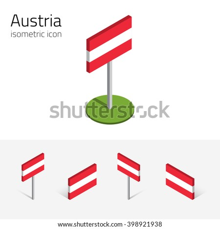Austrian flag (Republic of Austria), vector set of isometric flat icons, 3D style, different views. 100% editable design elements for banner, website, presentation, infographic, poster, map. Eps 10 - stock vector