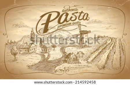 Autentic pasta label with rural landscape backdrop. Eps10 - stock vector