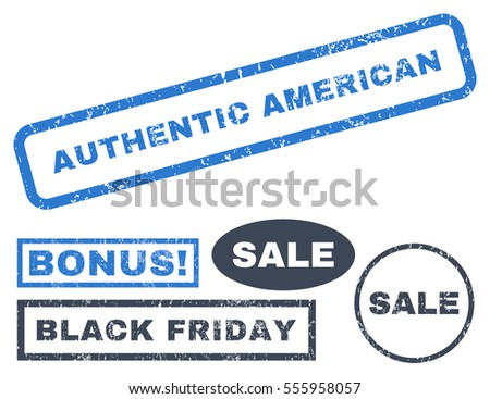 Authentic American rubber seal stamp watermark with additional banners for Black Friday offers. Vector smooth blue signs. Caption inside rectangular shape with grunge design and scratched texture.