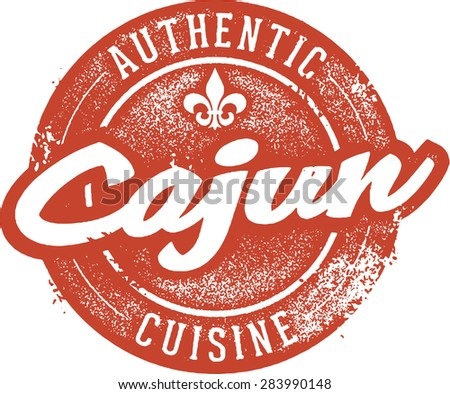 Authentic Cajun Cuisine Menu Stamp - stock vector