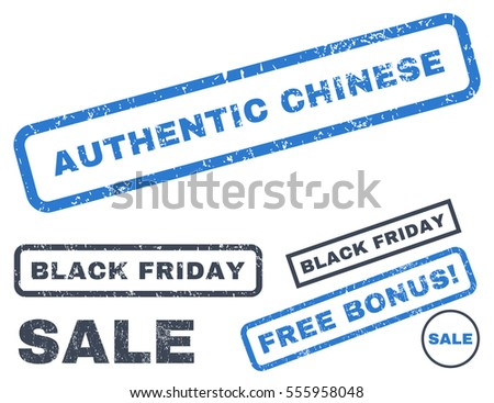 Authentic Chinese rubber seal stamp watermark with bonus banners for Black Friday offers. Vector smooth blue signs. Caption inside rectangular banner with grunge design and dirty texture.