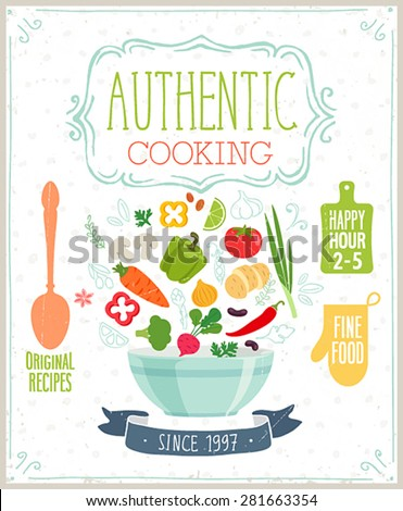 Authentic cooking poster. Vector illustration. - stock vector
