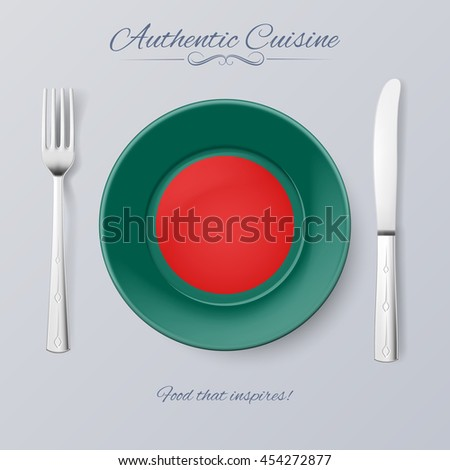 Authentic Cuisine of Bangladesh. Plate with Bangladeshi Flag and Cutlery