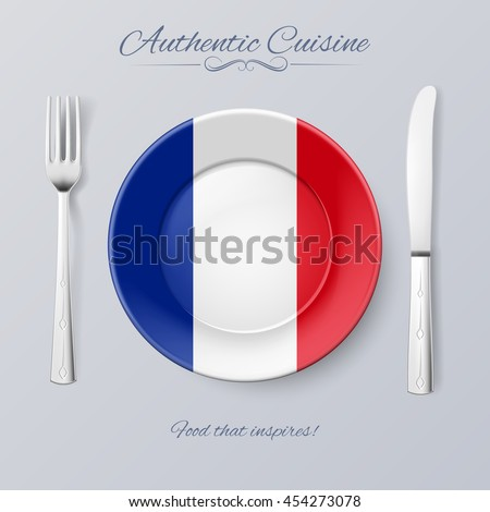 Authentic Cuisine of France. Plate with French Flag and Cutlery - stock vector