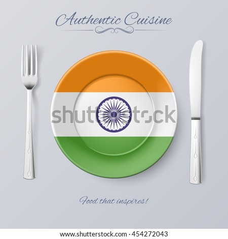 Authentic Cuisine of India. Plate with Indian Flag and Cutlery