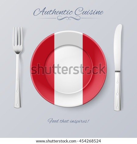 Authentic Cuisine of Peru. Plate with Peruvian Flag and Cutlery