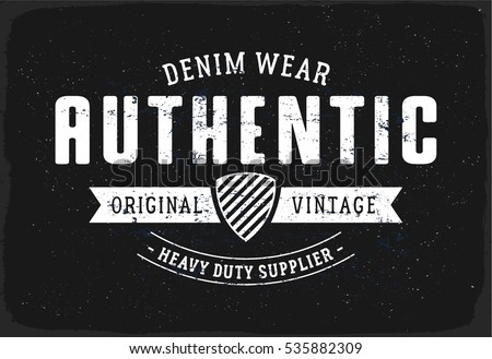 Authentic denim print for t shirt or apparel retro artwork in black and white
