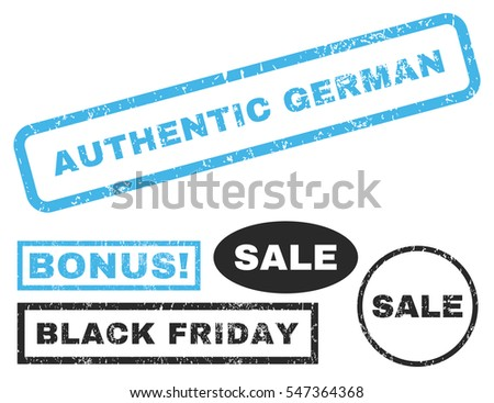 Authentic German rubber seal stamp watermark with additional design elements for Black Friday offers. Vector blue and gray emblems.