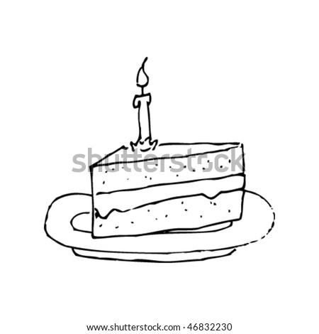 Authentic Scratchy Ink Drawing Of A Cake Slice
