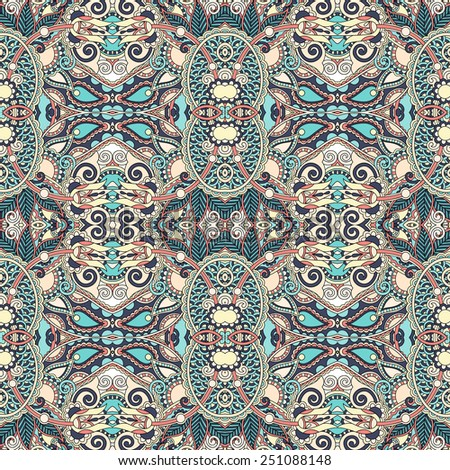 authentic seamless floral geometric pattern, ethnic ukrainian carpet ornamental background, vector illustration - stock vector