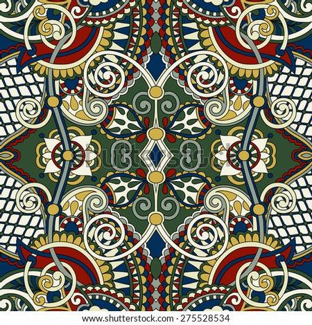 authentic seamless floral geometric pattern, ethnic ukrainian carpet ornamental background, vector illustration - stock vector