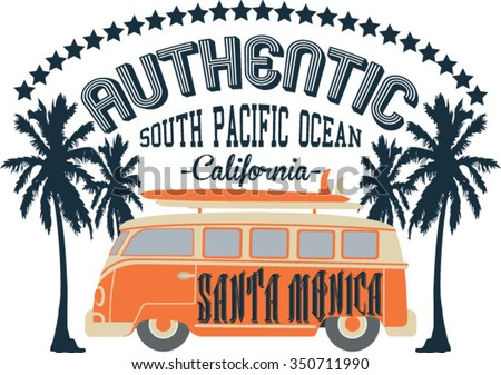 Authentic Surfers vector print. For t-shirt or other uses in vector. - stock vector