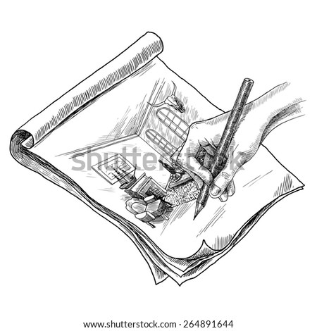 Author hand drawing living room interior with pencil sketch vector illustration - stock vector