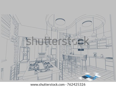 Author project blueprint kitchendining room food vectores en stock author project blueprint of a kitchen dining room the food the dishes malvernweather Image collections