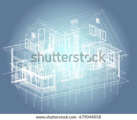 Author's design of residential house, foundation piles, blueprint, perspective view. 3d, plan, realistic. Vector