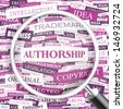 AUTHORSHIP. Concept vector illustration. Word cloud with related tags and terms. Graphic tag collection. Wordcloud collage.  - stock vector