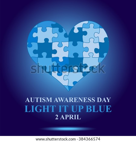 Autism awareness day concept.  Ligtht it on blue - stock vector