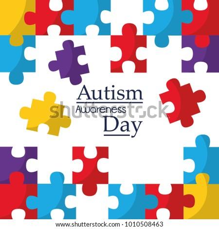 Autism Awareness Poster Puzzle Pieces Solidarity Stock Vector