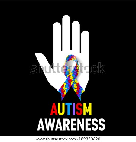 Autism Awareness  sign.  White hand with puzzle ribbon on black background - stock vector